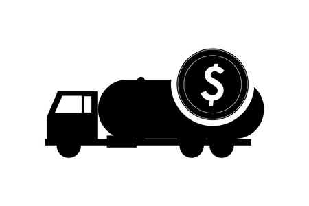 cistern: flat design cistern truck and coin icon vector illustration