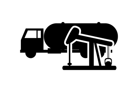 haul: flat design cistern truck and oil rig icon vector illustration