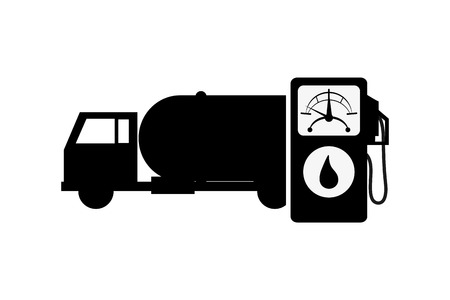 haul: flat design cistern truck and fuel dispenser icon vector illustration