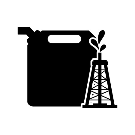 canister: flat design fuel canister and oil rig icon vector illustration