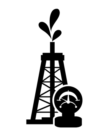 oilwell: flat design oil rig and manometer icon vector illustration