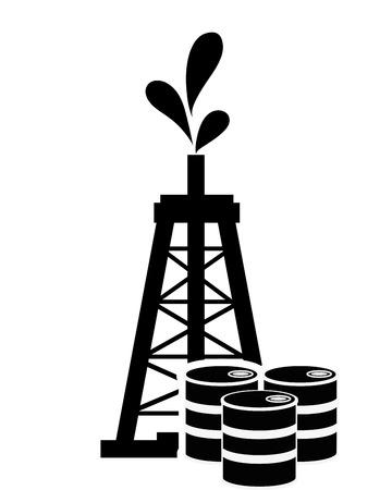 oilwell: flat design oil rig and icon vector illustration