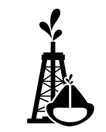 oilwell: flat design oil rig and oil reservoir icon vector illustration Illustration