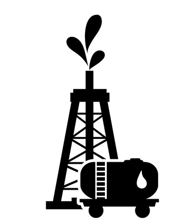 flat design oil rig and oil tank icon vector illustration