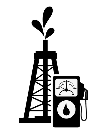 oilwell: flat design oil rig and fuel dispenser icon vector illustration
