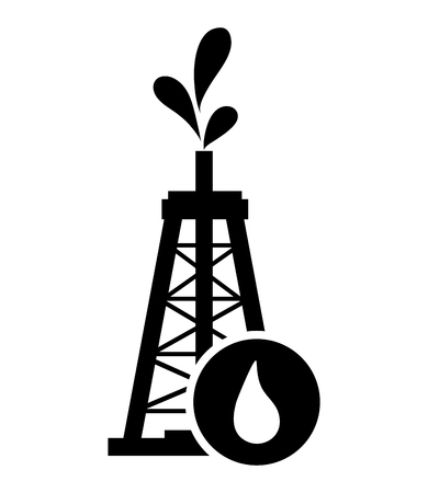 oilwell: flat design oil rig and droplet icon vector illustration