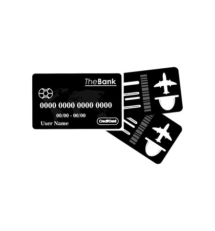 return trip: flat design boarding pass and credit card icon vector illustration