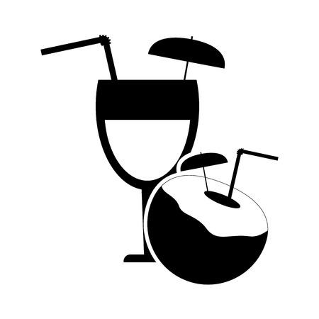 garnished: flat design garnished cocktail glass and tropical beverage icon vector illustration
