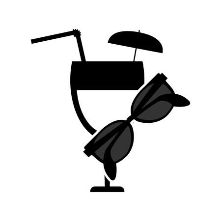 garnished: flat design garnished cocktail glass and sunglasses  icon vector illustration Illustration