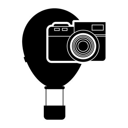 cloud drift: flat design hot air balloon and camera icon vector illustration
