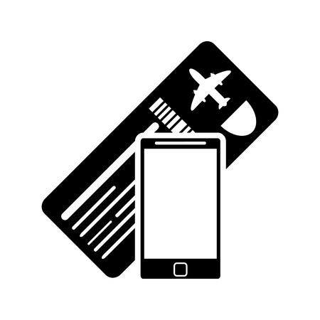 return trip: flat design boarding pass or ticket and cellphone  icon vector illustration Illustration
