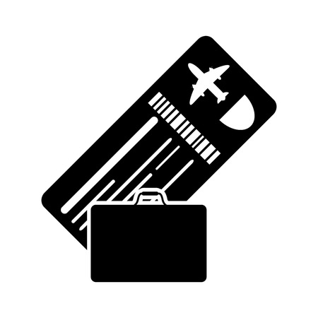 return trip: flat design boarding pass or ticket and suitcase icon vector illustration