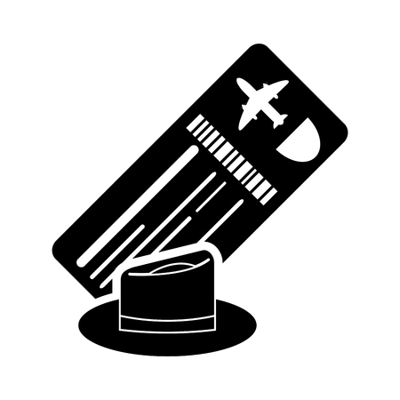 return trip: flat design boarding pass or ticket and hat icon vector illustration Illustration
