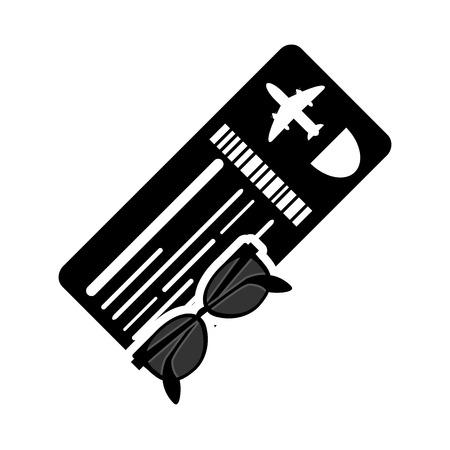 return trip: flat design boarding pass or ticket and sunglasses  icon vector illustration
