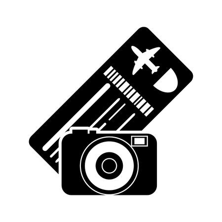 return trip: flat design boarding pass or ticket and camera  icon vector illustration Illustration