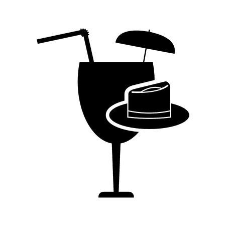 garnished: flat design garnished cocktail glass and hat icon vector illustration Illustration