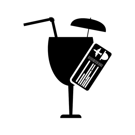 garnished: flat design garnished cocktail glass and boarding pass icon vector illustration