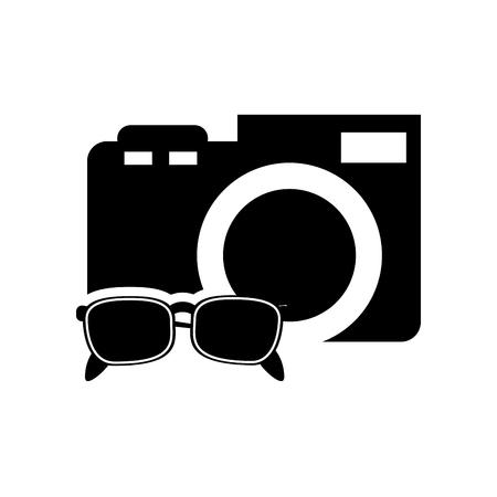 digicam: flat design photographic camera and sunglasses  icon vector illustration