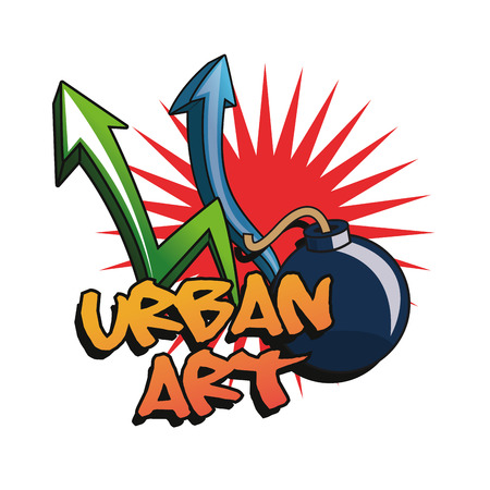urban art: Arrows and bomb icons. Urban art theme. Colorful and isolated design. Vector illustration Illustration