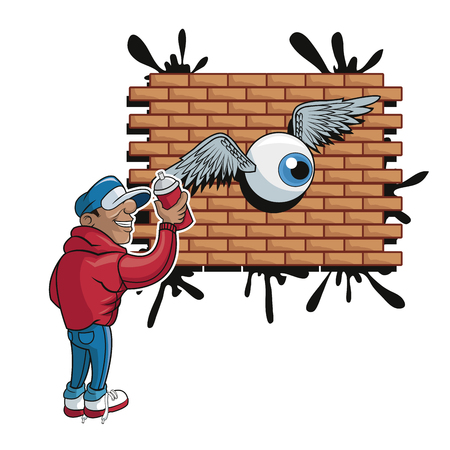 urban art: Cartoon man with spray eye and wings. Urban art theme. Colorful and isolated design. Vector illustration