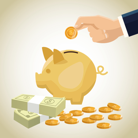 economic forecast: Piggy coins and bills icon. Money economy commerce and market theme. Isolated design. Vector illustration