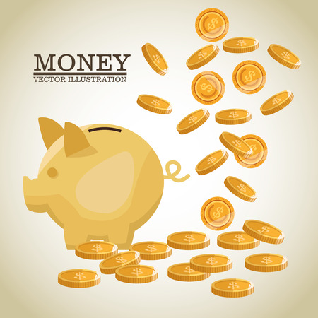 Coins and piggy icon. Money economy commerce and market theme. Isolated design. Vector illustration