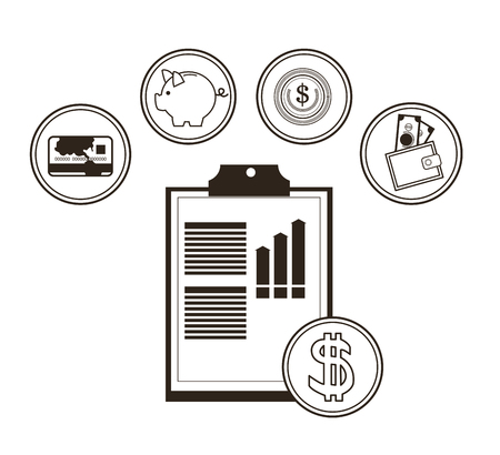 black economy: Document coin and icon set. Money economy commerce and market theme. Isolated black and white design. Vector illustration Illustration