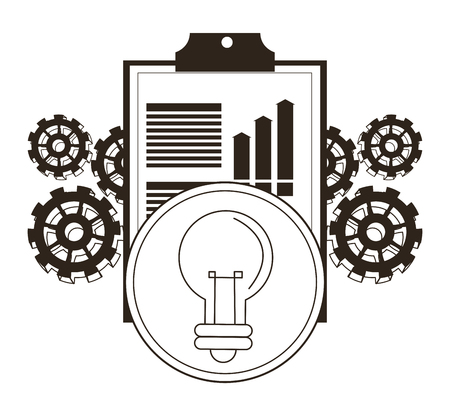 Document bulb and gears icon. Money economy commerce and market theme. Isolated black and white design. Vector illustration