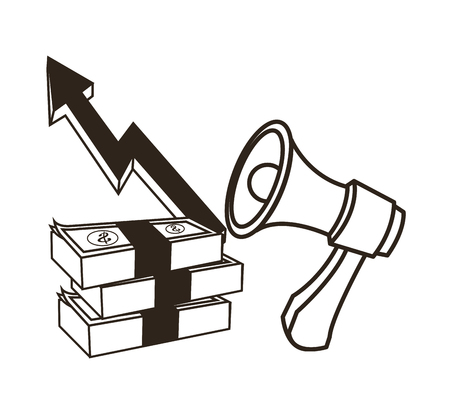 economic forecast: Bills and megaphone with growth arrow icon. Money economy commerce and market theme. Isolated black and white design. Vector illustration