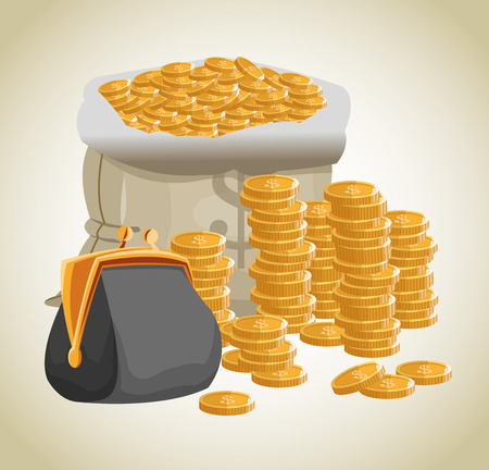 economic forecast: Bag purse and coins icon. Money economy commerce and market theme. Isolated design. Vector illustration