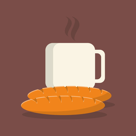 flat design coffee mug  and pastry image vector illustration