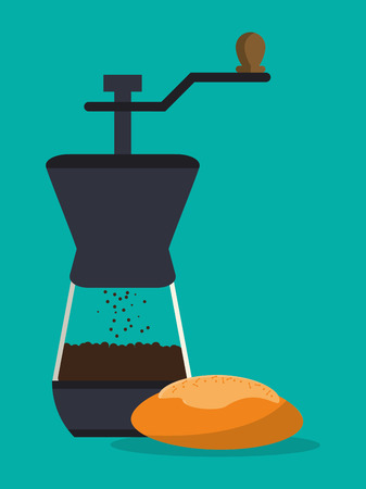 flat design coffee grinder and pastry image vector illustration