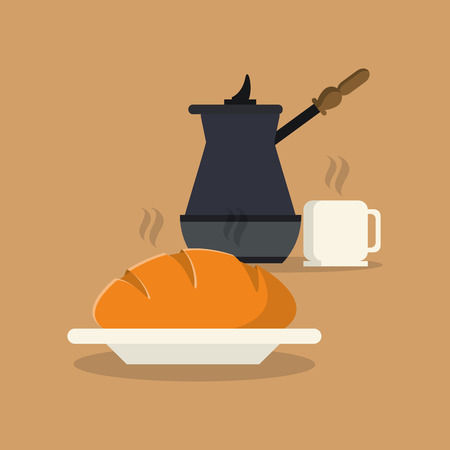 flat design coffee press and pastry image vector illustration