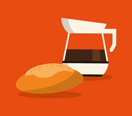 flat design coffee jug  and pastry image vector illustration Illustration