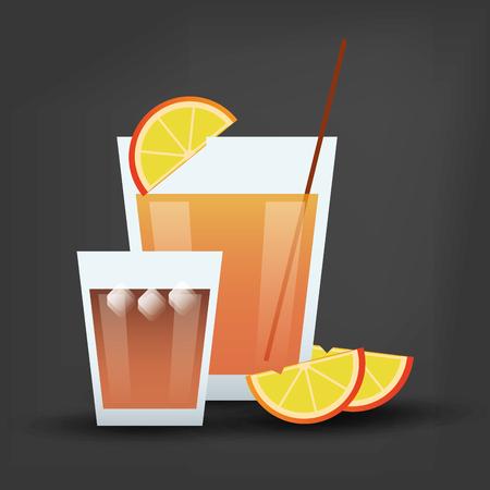 flat design cocktail drink glass over black background image vector illustration