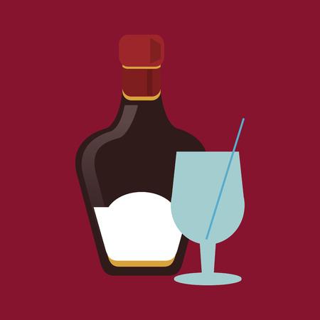 flat design cocktail drink glass and liqueur bottle  image vector illustration