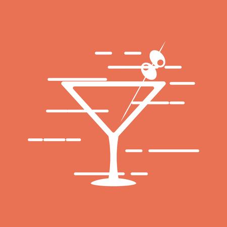 flat design cocktail drink glass over brightly colored  background image vector illustration