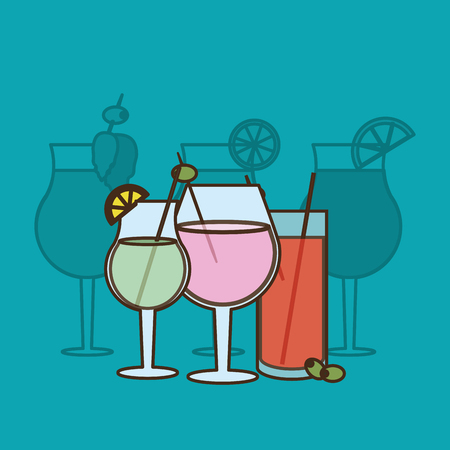 brightly: flat design cocktail drink glass over brightly colored  background image vector illustration