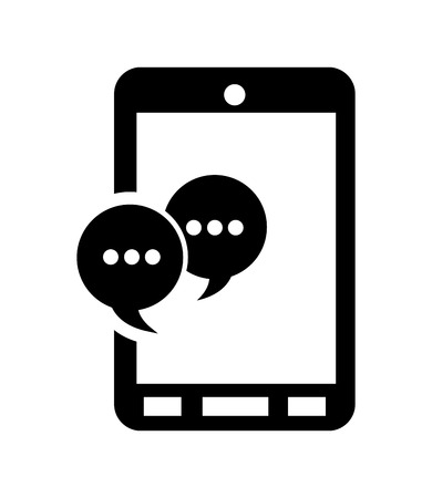 flat design modern cellphone and  conversation bubble icon vector illustration Imagens - 62640708