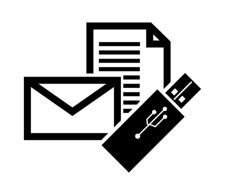 usb drive: flat design message envelope and  usb drive icon vector illustration