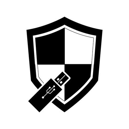 usb drive: flat design single shield and  usb drive icon vector illustration