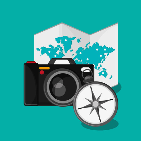 related: colorful design travel related icons vector illustration  Illustration