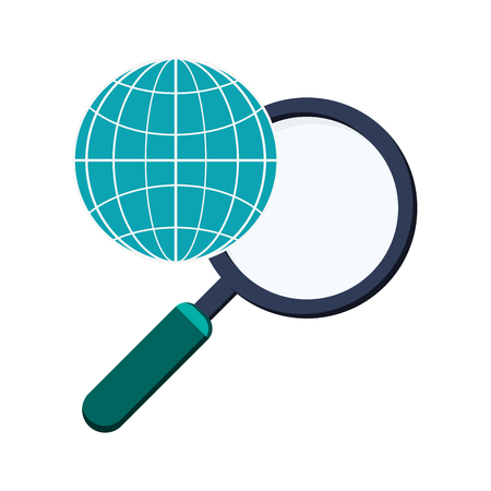 flat design earth globe diagram and  magnifying glass  icon vector illustration Vectores