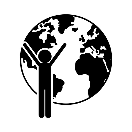 flat design earth globe and person pictogram  icon vector illustration