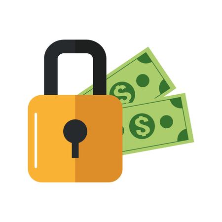 dollar bills: flat design safety lock and  dollar bills icon vector illustration Illustration