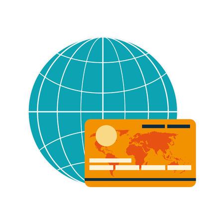 diseño plano diagrama de globo de la tierra y la tarjeta de crédito de la ilustración del vector del icono