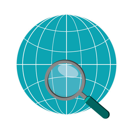 parallel world: flat design earth globe diagram and  magnifying glass  icon vector illustration Illustration