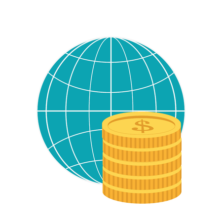 diagrama de globo de tierra diseño plano y ilustración de vector de icono de monedas