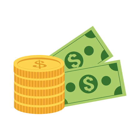dollar bills: flat design coin and dollar bills icon vector illustration
