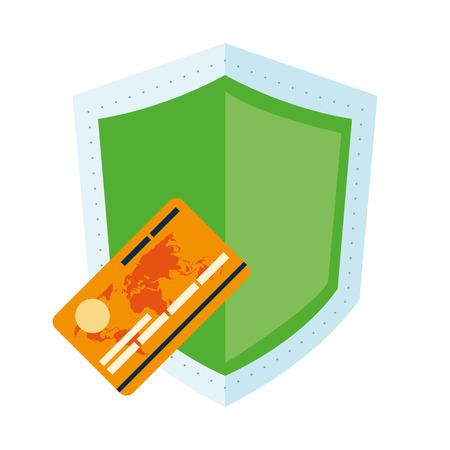 flat design shield and  credit card  icon vector illustration Illustration
